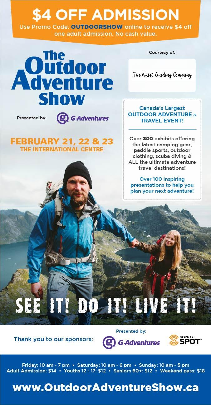 Coupon for the 2020 Toronto Outdoor Adventure Show